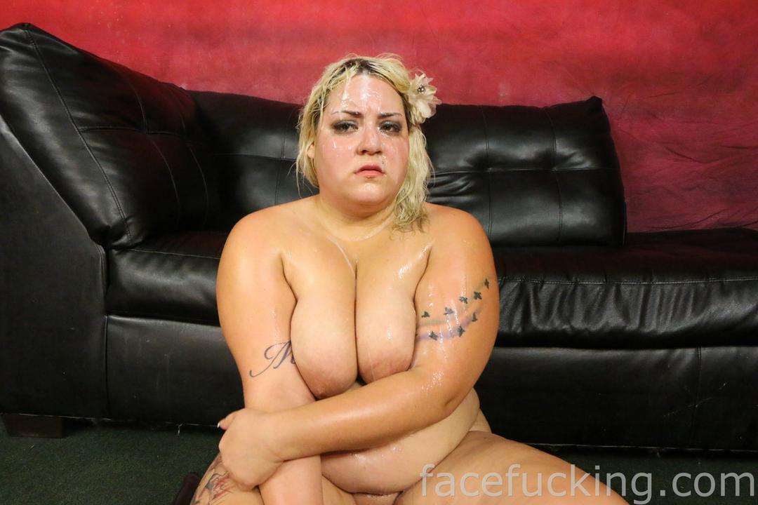 Upset fatty covered in cum